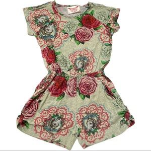 Paper Wings Roses & Doilies Jersey Romper 7